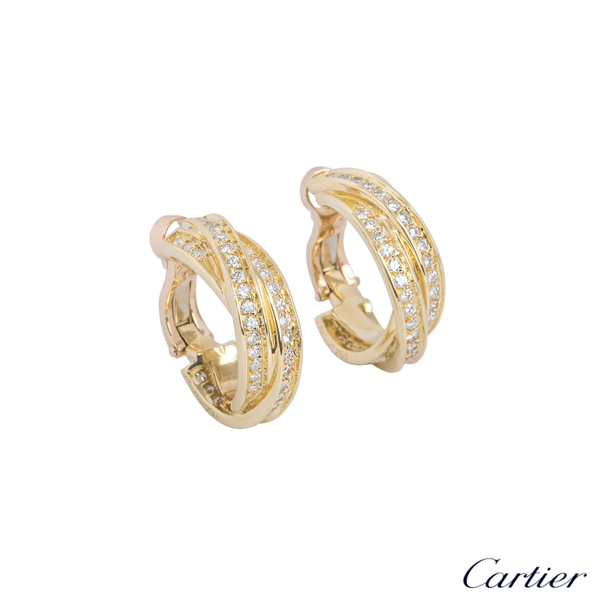 Cartier Yellow Gold Diamond Trinity De Cartier Earrings